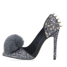7f4cf705421 Rivet Pompon Slip-On Pointed Toe Stiletto Heels. Shoespie.com
