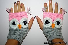 letsjustgethooking : FREE PATTERN   Fingerless Owl Mittens  DISCLAIMER ...