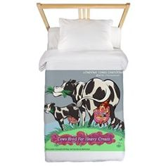 #Cream #Music 4 #Cows Twin #Duvet Cover #Humor #Gift by @LTCartoons @cafepress 20%off Code NORTHPOLE20 #sale @pinterest