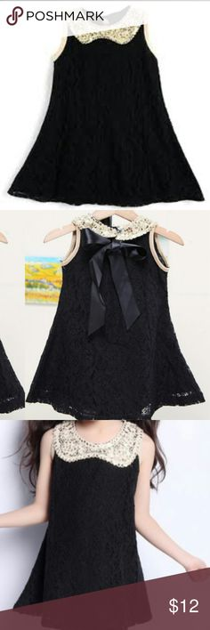 Black lace with sequin collar dress Really cute size 3-4t Dresses