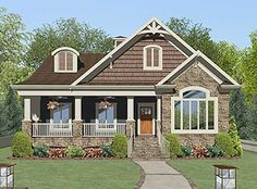 "Architectural Designs ""Golfer's Dream House Plan"" Check it out! There is a rooftop putting green over the garage and back porch! 3 beds 2 baths 2 car alley garage Just under square feet Cottage Style House Plans, Craftsman Style House Plans, Dream House Plans, Small House Plans, Cottage Living, Cottage Homes, Western Bedroom Decor, Craftsman Bungalows, House Front"