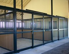 Newest trends in stall doors. I love the full mesh for ventilation but hate the high price! Barn Stalls, Horse Stalls, Dream Stables, Dream Barn, Horse Barn Designs, Barn Layout, Horse Barn Plans, Horse Farms, The Ranch