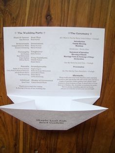 I wanted a cheap one-sheet wedding program that I could print myself, and an non-messy way for the maple leaf ash seeds (helicopter seeds) to be both distributed and contained during the ceremony. …