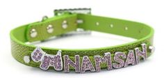 Namsan Dog Puppy Cat cat Leather Collars Bling Rhinestone Personalized Customized Free Name Diamond Bucklet -Extra Small-Green *** New and awesome cat product awaits you, Read it now  : Cat Collar, Harness and Leash