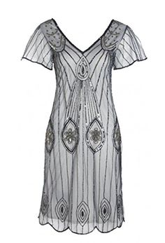 Gatsbylady London Women's Art-Deco 1920's Vintage Flapper Dress US 16 Blue Grey gatsbylady london http://www.amazon.com/dp/B00ZKORUXQ/ref=cm_sw_r_pi_dp_yqpYvb0PGVPN5