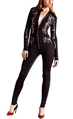 21eef3e70cfb Dreamparis Womens Sexy Lace See Through Mesh Bodycon Long Pants One Piece  Jumpsuits Rompers    Click for Special Deals  SexyJumpsuit