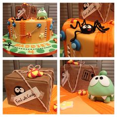 Cut the Rope cake featuring Omnom and his delivery box