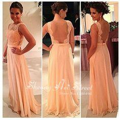 High quality nude back chiffon lace long peach color bridesmaid dress brides maid dress