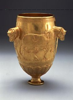 Northwestern Iranian Gold Goblet with Bulls, Marlik (?). 11th cent, B.C.E. Found in Tomb at Marlik, near Susa, it is an outstanding synthesis of Iranian and Mesopotamian elements.