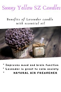 Lavender Benefits, Natural Air Freshener, Soy Wax Candles, Essential Oils, Food, Hoods, Meals, Essential Oil Uses