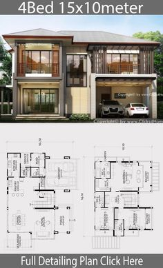 Home design plan with 4 bedrooms - Home Design with Plansearch Villa Plan, 4 Bedroom House Designs, Bedroom House Plans, Home Design Floor Plans, Home Building Design, House Layout Plans, House Layouts, Contemporary House Plans, Modern House Design
