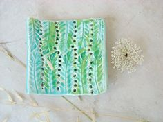 Turquoise and green soap dish by azulado on Etsy, $40.00