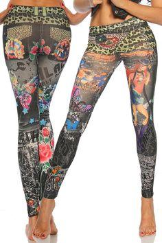 Super elastische Legging mit trendigem Druck. Sie passt sich an wie eine zweite Haut und ist äußerst angenehm zu tragen. So zeigt Frau Bein!
