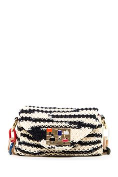 Knit Shoulder Bag with Chain Link Strap