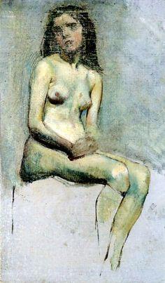 Stanisław Wyspiański - Akt siedzącej kobiety, 1892-94  oil, canvas on cardboard