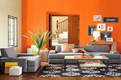 imagenes de salones en gris y naranja - Buscar con Google