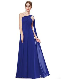 Ever Pretty Womens One Shoulder Empire Waist Long Prom Dress 6 US Sapphire Blue * You can get additional details at the image link.