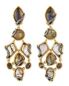 Alexis Bittar stone and crystal clip-ons