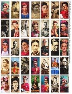 Frida Kahlo Portrait Domino Digital Collage Sheet 1x2 by magicpug