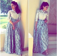 Aditi Rao # am . Pm# classic fusion office look # office brunch look Indian Attire, Indian Outfits, Indian Wear, Indian Designer Outfits, Designer Dresses, Indian Designers, Stylish Dresses, Fashion Dresses, Look Office
