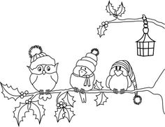 Terrific Pics Embroidery Patterns birds Ideas Beyond the Fringe: Winter Birds Free Digi Christmas Bird, Christmas Drawing, Christmas Colors, Christmas Crafts, Hand Embroidery Patterns Free, Embroidery Flowers Pattern, Baby Embroidery, Embroidery Ideas, Scrappy Quilts