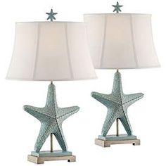 Starfish Glacier Blue Table Lamps Set of 2 Tropical Table Lamps, Tropical Furniture, Beach Furniture, Beach Cottage Style, Coastal Style, Beach House, Beach Condo, Coastal Decor, Coastal Interior