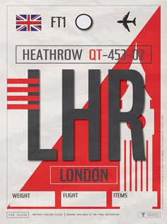 Vintage London Heathrow Luggage Tag Poster Framed Art Print by Vagabondtags - Vector Black - Ticket Design, Tag Design, Big Ben, Vintage Travel Decor, Uk And Ie Destinations, Vintage Luggage Tags, Vintage Suitcases, London Souvenirs, Poster