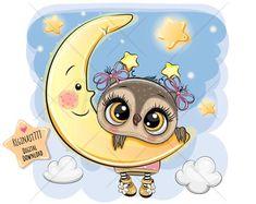 Owl Png, Moon Vector, Cute Cartoon Wallpapers, Cute Cartoon Images, Tatty Teddy, Baby Owls, Cute Drawings, Cute Animals, Illustrations