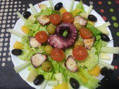 Amanida de pop i mango amb api, xerries i olives