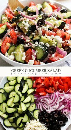 Greek Cucumber Salad with Lemon Vinaigrette Dressing