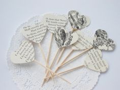 Poetry Page Party Picks Cupcake Toppers Party by LilpawsPaperArt, $5.99