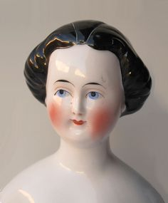 Rare 1860's China Head with Fancy Hairstyle