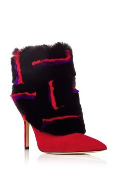 Red purple fur ankle boots by PAUL ANDREW Now Available on Moda Operandi