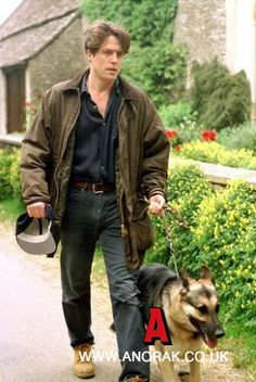 Hugh Grant and his german shepherd