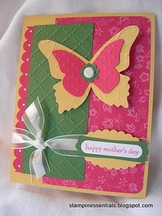 Stampin' Up! Happy Mother's Day card with die-cut butterflies