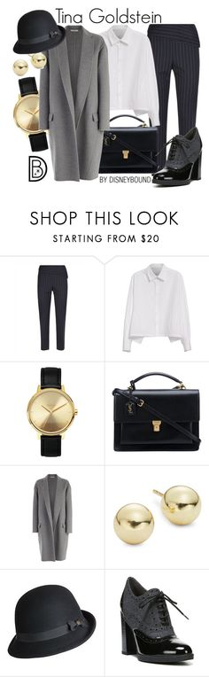 """""""Tina Goldstein"""" by leslieakay ❤ liked on Polyvore featuring Jaeger, Y's by Yohji Yamamoto, Nixon, Yves Saint Laurent, CÉLINE, Lord & Taylor, Goorin, Franco Sarto, harrypotter and disneybound"""