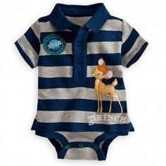 You'll be fawning over Bambi's Disney Cuddly Bodysuit with attached polo shirt shell. Made from soft cotton and featuring Grow-An-Inch-Snaps, it allows for longer lasting wear as your little dear grows!