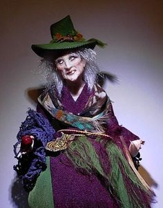 OLD CRONE ~  In 1:12 Scale ~  OOAK ~ Woodland Witch ~ Hag ~ New By Cindi Cannon - Oh, somebody buy me this, please!  <3  =o)