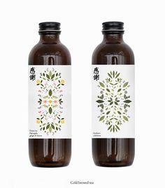 Kansha - Cold Brewed Tea on Behance Beverage Packaging, Coffee Packaging, Bottle Packaging, Organic Packaging, Packaging Ideas, Bottle Design, Glass Design, Tea Design, Brewing Tea