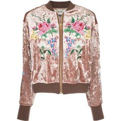 Muveil embroidered velvet bomber jacket ($1,732) ❤ liked on Polyvore featuring outerwear, jackets, brown, blouson jacket, embroidery jackets, bomber jacket, embroidered jacket and flight jackets