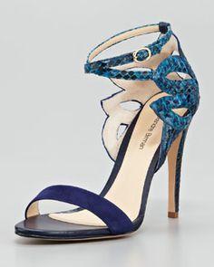 X1LCF Alexandre Birman Python Ankle-Cutout Sandal, Blue