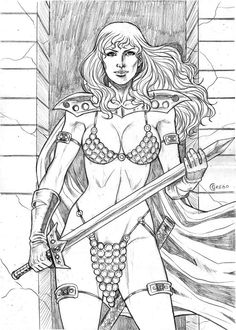 RED SONJA  BY artist CESAR GREGO- ART PINUP Drawing Original ART #PopArt