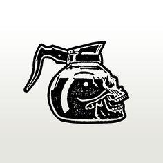 coffee tattoo Coffee as black as my heart - skull coffee pot illustration 4 Tattoo, Tatoo Art, Body Art Tattoos, Tattoo Drawings, Cool Tattoos, Skull Drawings, Yakuza Tattoo, Tatuagem Old Scholl, Skull Tatto