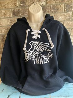 Custom Track hoodie with lace up front track shoe and team name Kangaroo Pouch, Sports Mom, Baseball Mom, Team Names, Mom Outfits, Cross Country, Mom Shirts, Custom Items, Hoodies