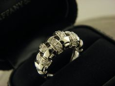 Tiffany & Co. 2002 Italy 18K White Gold Diamond Basket Weave Dome Ring Sz 5. #TiffanyCo #Dome