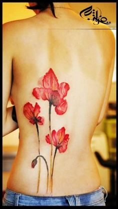 charming crimson poppy watercolor Tattoo on back - just seems like water lily - Which lily tattoo do you like best? by yayayue