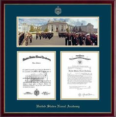 Features a beautful panoramic photo of Parade Formation/Bancroft Hall mounted above your diploma and certificate. It is presented with navy and gold museum matting in our high-gloss Galleria cherry moulding.