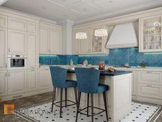 Фото: Кухня - Двухуровневая квартира в неоклассическом стиле, ЖК «Жилой дом на Пионерской», 208 кв.м.