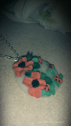 poppy fields 2. -polymer clay pendant