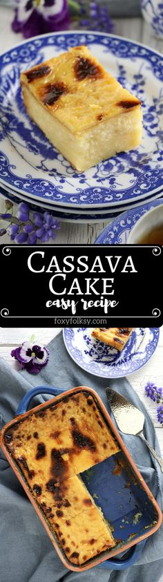 Cassava cake is a Filipino dessert made from grated cassava (manioc). Here's a really easy recipe with deliciously rich and creamy custard topping. Easy Filipino Recipes, Filipino Desserts, Asian Desserts, Easy Cake Recipes, Just Desserts, Baking Recipes, Dessert Recipes, Filipino Food, Filipino Dishes
